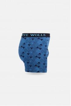 Mavi Geometrik Desenli Pigment Baskı Erkek Boxer