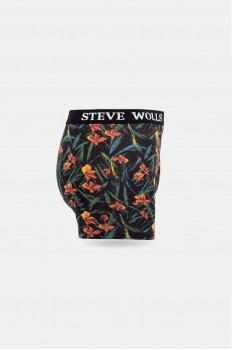 Turuncu Çiçek Desenli Pigment Baskı Erkek Boxer