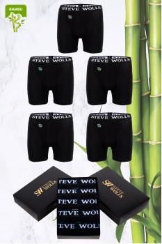 Erkek Siyah Renk Bambu 5'li Boxer Set