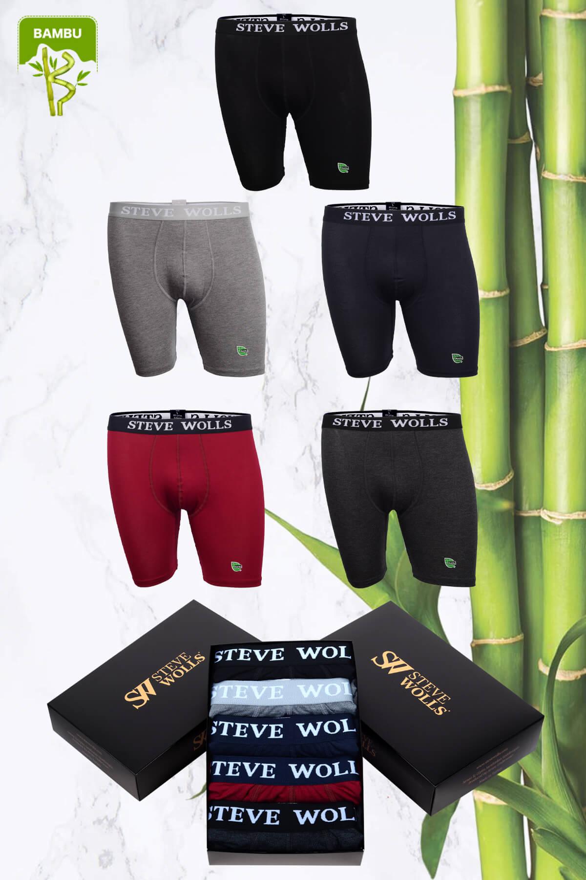 Erkek Karışık Renk Bambu Uzun Paça 5'li Boxer Set