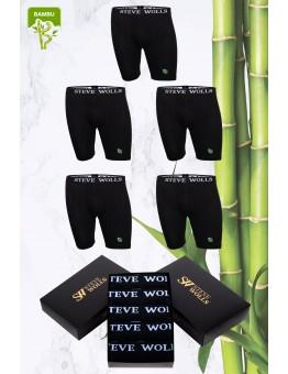 Erkek Siyah Renk Bambu Uzun Paça 5'li Boxer Set
