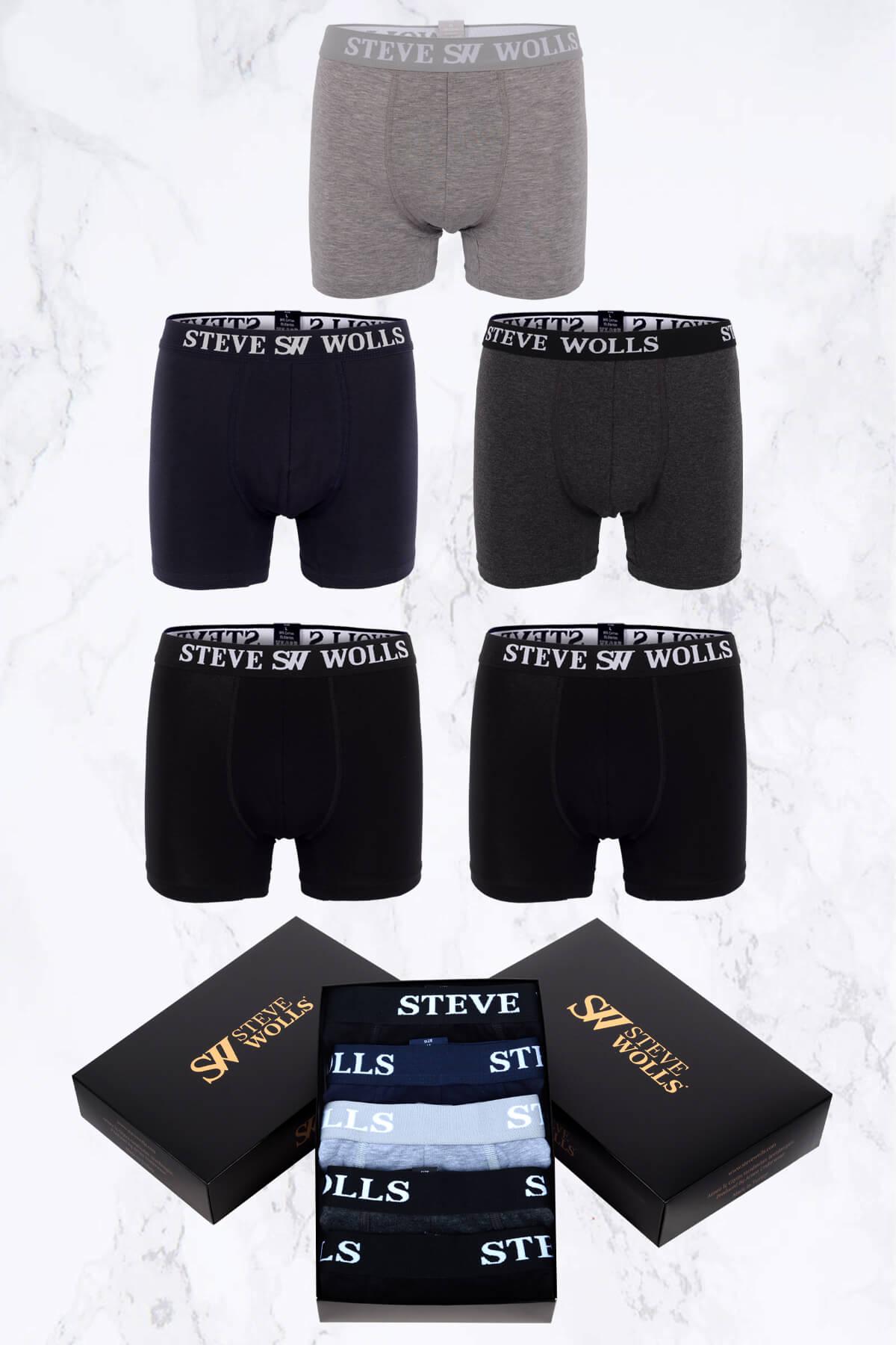 Erkek Karışık Düz Renk 5'li Boxer Set