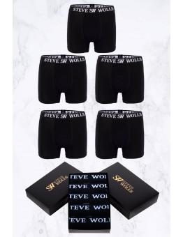 Erkek Siyah Düz Renk 5'li Boxer Set