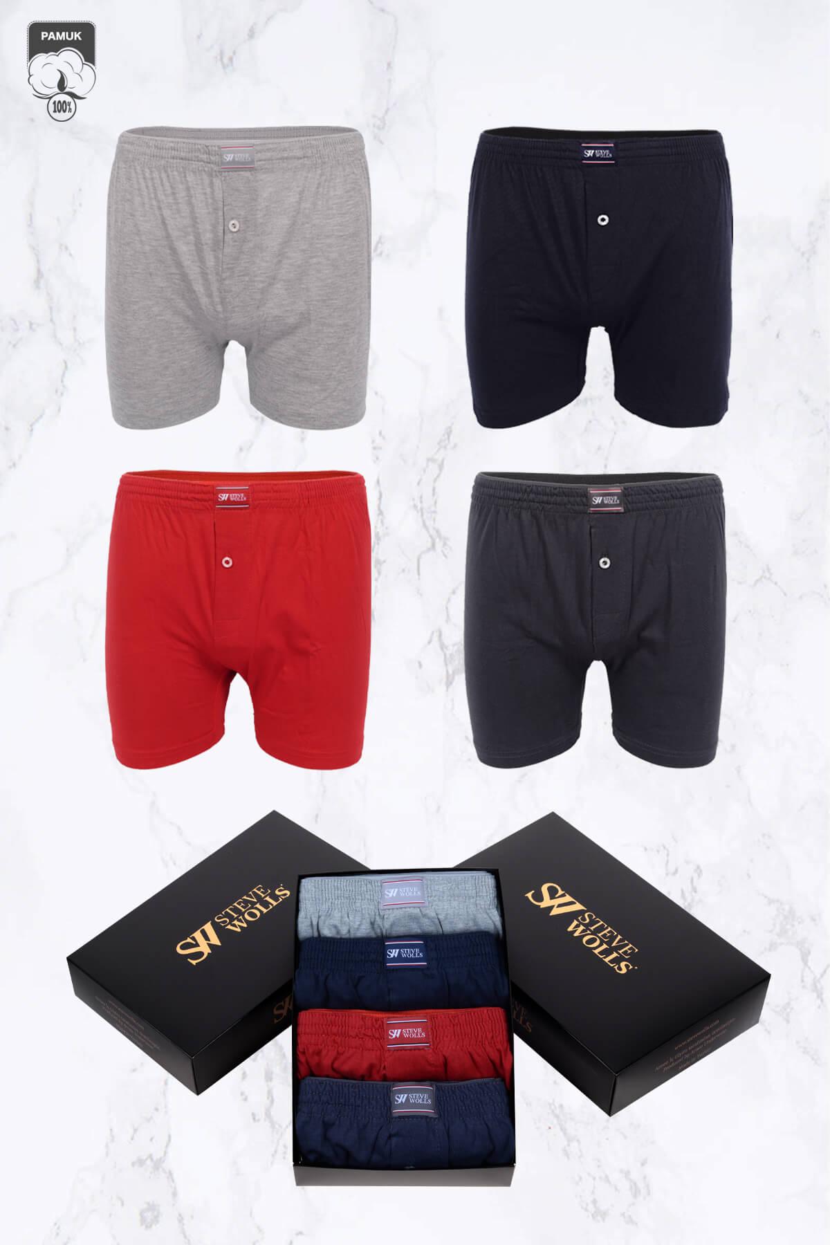 Erkek Karışık Renk Penye 4'lü Boxer Set