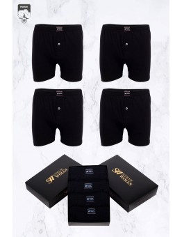 Erkek Siyah Renk Penye 4'lü Boxer Set