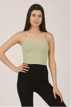 Kadın Mint Yeşil Lastikli Crop Top