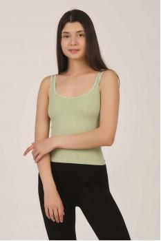 Kadın Mint Yeşil Kalın Askılı Ripli Crop Top