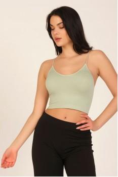 Kadın Mint Yeşil Dikişsiz İp Askılı Crop Top