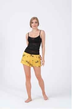 Kadın Şort Atlet Sarı Siyah Düz İkili Pijama Takımı