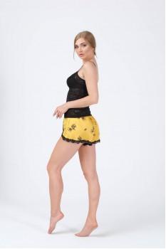 Kadın Şort Atlet Sarı Siyah Yırtmaçlı İkili Pijama Takımı