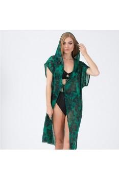 Kadın Yeşil Kapşonlu Pareo